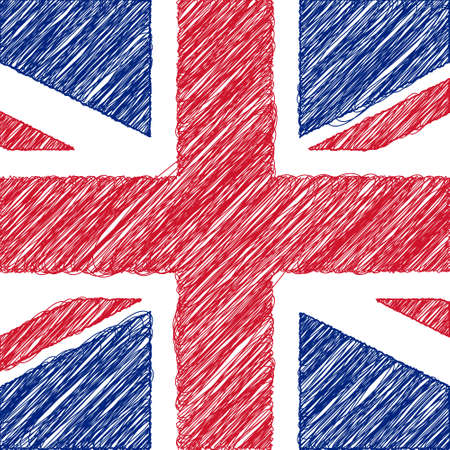 Flag of UK, pencil drawing vector illustration. English flag.