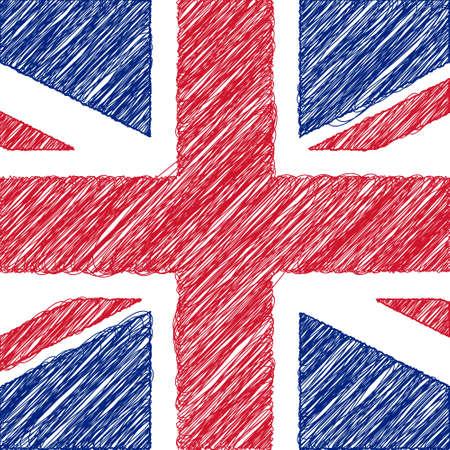 Flag of UK, pencil drawing vector illustration. English flag.