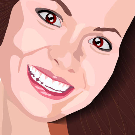 candid: Beautiful woman face - vector illustration. The fictional image. Release does not exist. Illustration