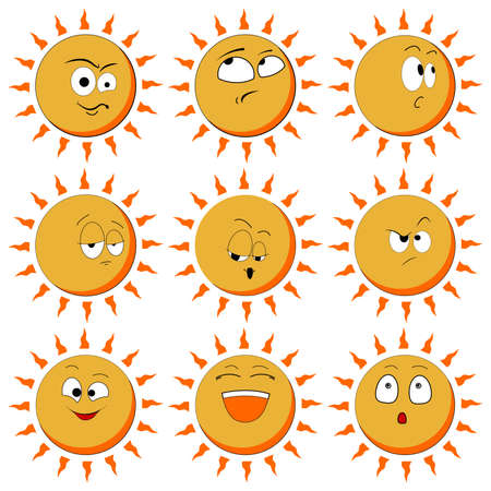 Sun Smile Icon Set Isolated on White Background. illustration. Set Of Sun Smile Emotion Icons. Set of Sun.