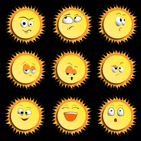 Sun Smile Icon Set Isolated on Black Background. illustration. Set Of Sun Smile Emotion Icons with Shadows. Set of Sun.