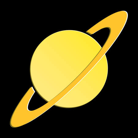 Planet Saturn with planetary ring system flat icon for astronomy apps and websites.