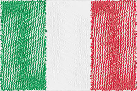 Flag Italian  pencil drawing vector illustration. Using for decoration works.
