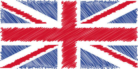 Flag of English pencil drawing vector illustration. Union Jack. Using for decoration works.