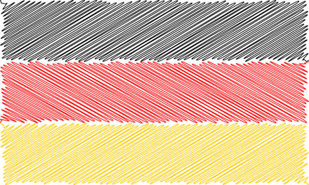 Vector flag of  German pencil drawing vector illustration. Using for decoration works. Deutsch Ilustração