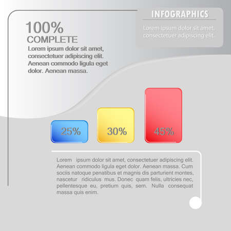 A vector concept of the infographic design. Three-step percentage breakdown. Ilustração