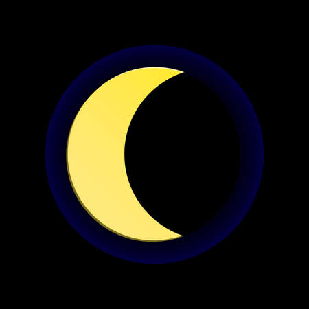 Moon on black background. Moon Icon Vector.