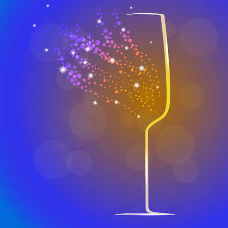 Background with champagne glass and splashes, vector illustration Ilustração