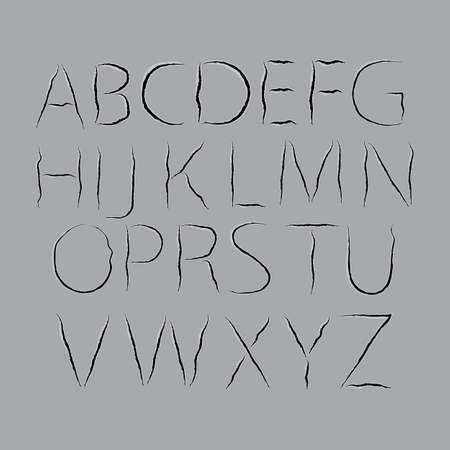 Font from scratched paper. Transparent background. A set of letters for design. Ilustração