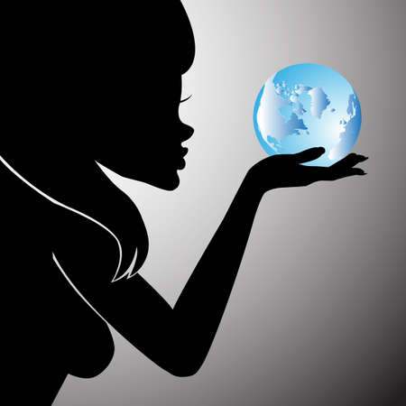 Earth Day. Vector illustration silhouette of a girl with the words, blue planets EPS 10. Ilustração
