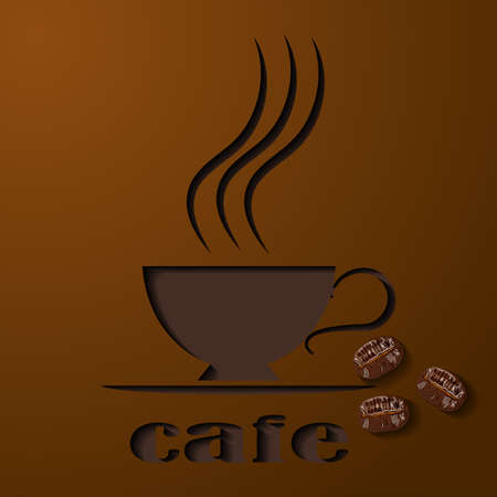 Coffee cup. Logo cuted from paper. A symbol cafe. Coffee color. Three coffee beans.