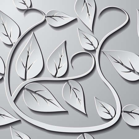 Leaf seamless pattern. Gray gradient background for webs, posters, e-mail etc. Ilustração