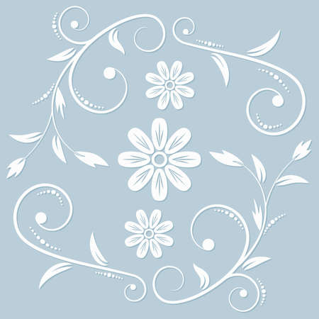 The white floral ornament on the light blue background. Cut from a papper. Ilustração
