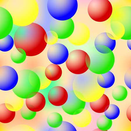easiness: Colored bubbles. Seamless Texture for background image on websites, e-mails, etc. Cream-colored Background. Bright colors. Illustration