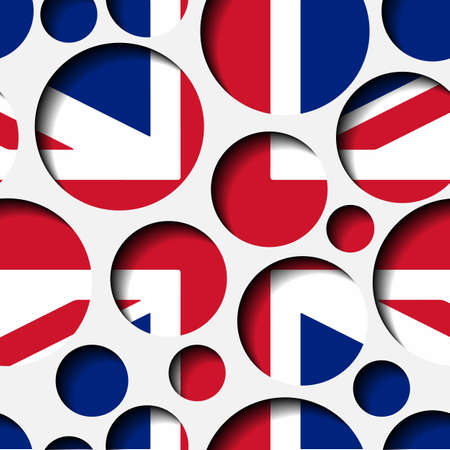 Seamless texture - paper cut circles. British flag. Background for web, bunner, cards, e-mail etc.