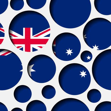 Texture - paper cut circles. Australian flag. Background for web, bunner, cards, e-mail etc
