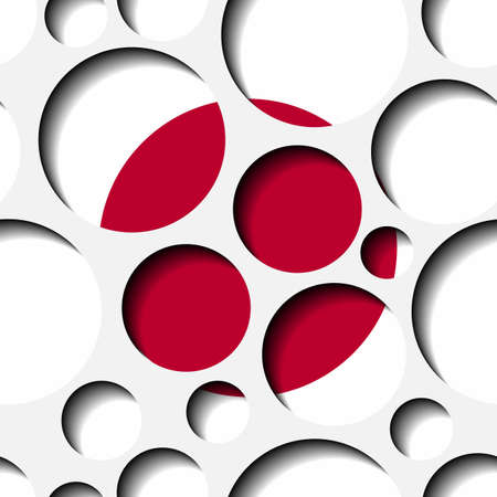 Texture - paper cut circles. Japan flag. Background for web, banner, cards, e-mail etc