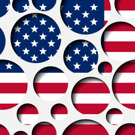 Texture - paper cut circles. USA flag. Background for web, bunner, cards, e-mail etc