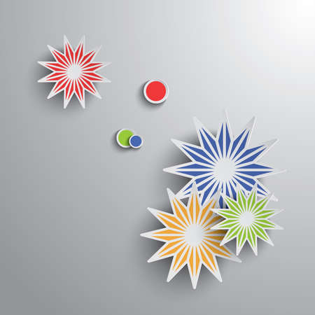 Paper graphic of geometric art. Stars and rounds on gradient background. Ilustração