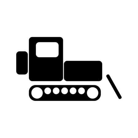 Caterpillar tractor. Flat icon Simple icon. Black Vettoriali