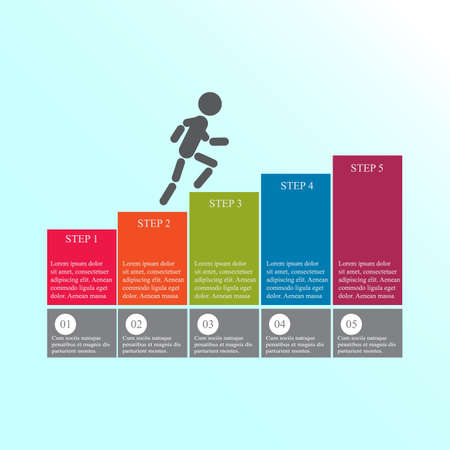 Modern design for business steps options diagram info graphic. The man goes up the stairs. Info graphic. Layout design. Template. Web design. Five step. Vettoriali