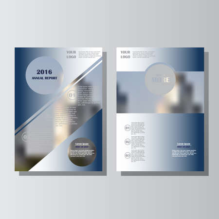 Blue annual report leaflet brochure flyer template A4 size design, book cover layout design. Abstract blue presentation templates. Lorem ipsum.