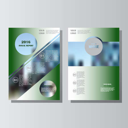 Green annual report leaflet brochure flyer template A4 size design, book cover layout design. Abstract blue presentation templates. Lorem ipsum. Vettoriali
