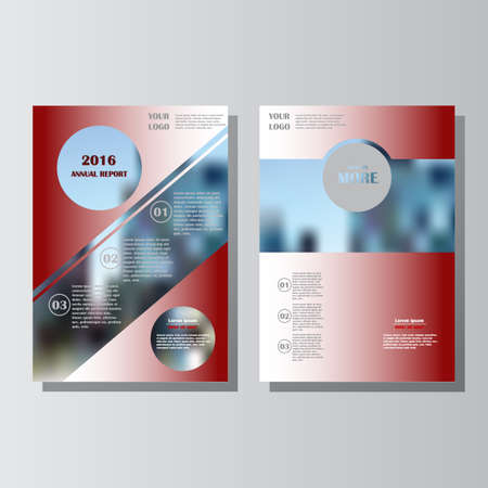 Red annual report leaflet brochure flyer template A4 size design, book cover layout design. Abstract blue presentation templates. Lorem ipsum. Vettoriali