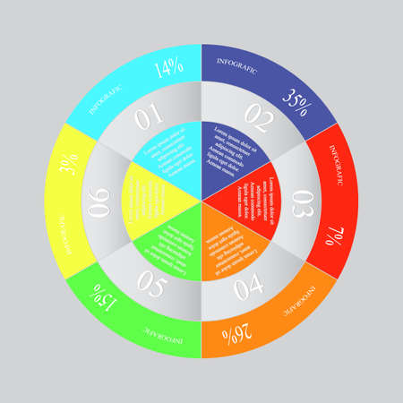 Infographics step by step. Abstract pie chart, graph, diagram with 6 steps, options, parts, processes. Vector business template for presentation and training. Vettoriali