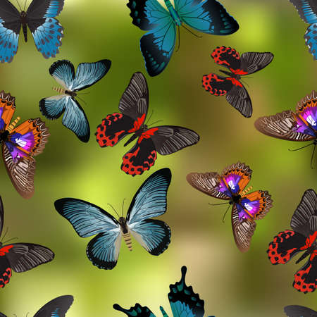Seamless texture Butterflies. Realism style execution. Mesh