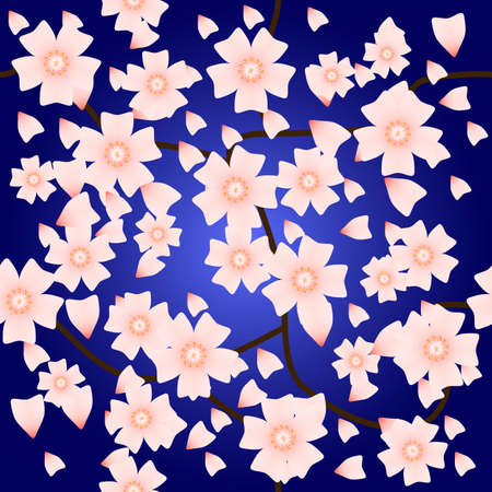 Seamless pattern with sakura flowers. Tender cherry flowers. Good background for spring theme web page, greeting card. Spring ornament for textiles.