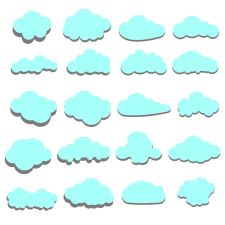 Set of blue clouds. Cloud icon, cloud shape. Set of different clouds. Collection of cloud icon, shape, label, symbol. Graphic element vector. Vector design element for logo, web, print. Rain clouds.