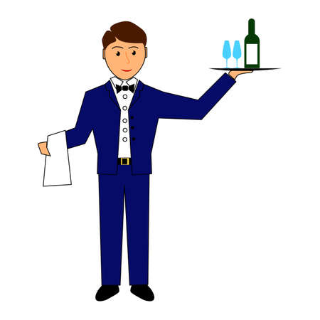 Waiter holds tray with wine and glasses waiter, service