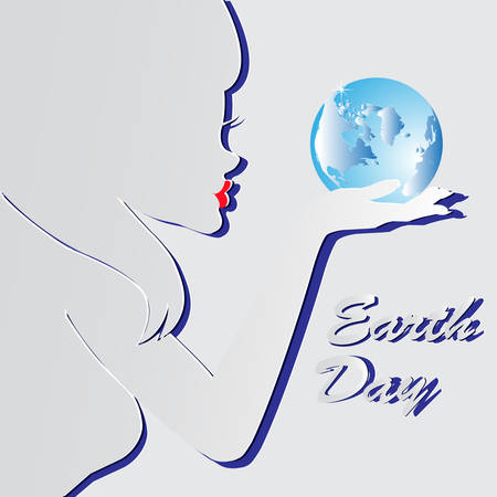 Earth Day. Vector illustration silhouette of a girl with the words, blue planets EPS 10. Vettoriali