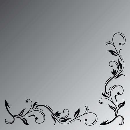 The black floral ornament on the grey gradient background. Imagens - 79728064
