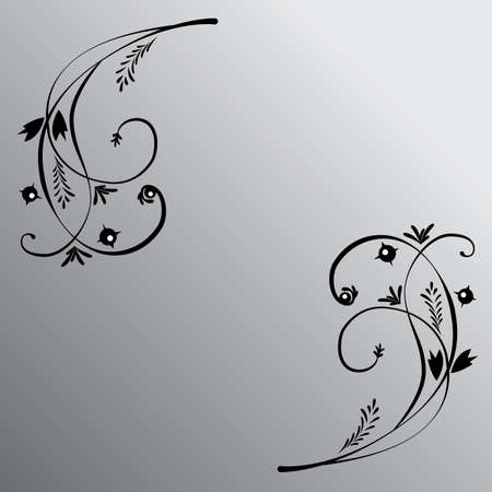The black floral ornament on the black-white gradient background. Imagens - 79905979