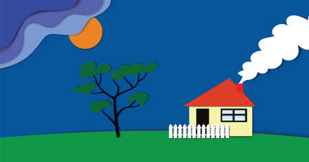 Summer landscape with house and tree. Will be rain. Elements with shadows. The technique of cut paper. Illustration