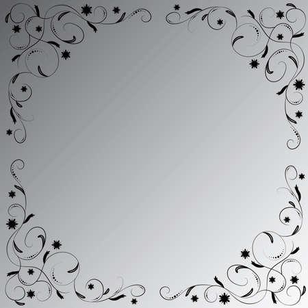 The black floral ornament on the black-white gradient background. Angular vignette.