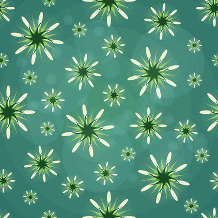 Seamless texture. Abstract pattern with green figures. Abstract green flowers. Taxtile pattern.