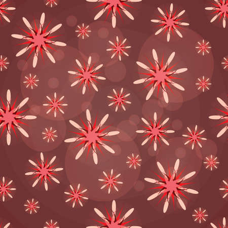 Seamless texture. Abstract pattern with red figures. Abstract red flowers. Taxtile pattern.