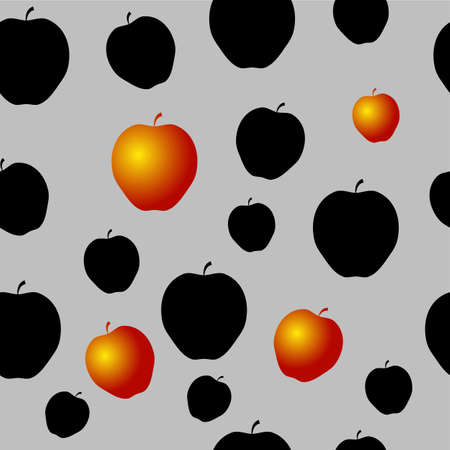 Seamless Pattern with black apples and some gold on the Grey Background.