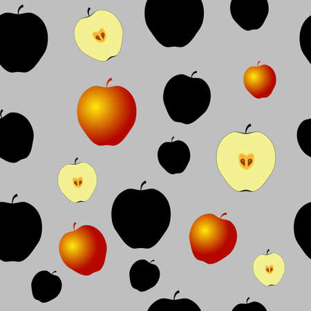 Pattern with black apples, half of apples and some gold apples.