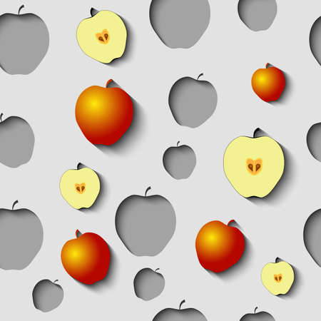 Seamless Pattern with paper cut apples, half of apples and some gold apples on the Grey Background. Imagens - 80885636
