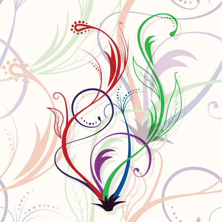 Seamless floral background. Colored branches with grey shadow. Vettoriali