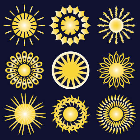 Set of nine yellow icons of the sun, isolated on dark blue background. Vettoriali