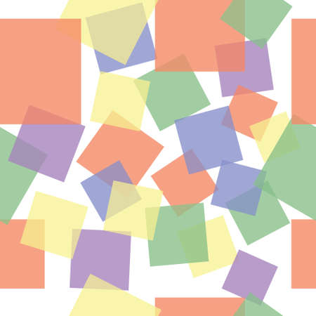 Abstract sweet squares seamless children background. Colored stickers. Ilustração