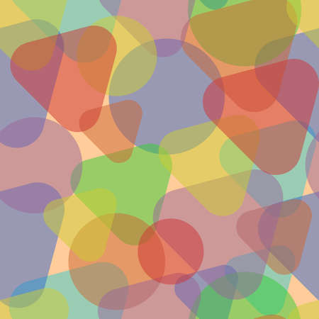 Overlapping triangles with rounded corners and circles on a beige background. Seamless texture adapted for print and web. Figures are grouped by color.
