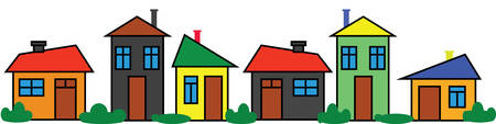 Border colorful houses. Panoramic ornament. Color city. Neighborhood design Ilustração