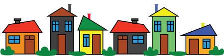 Border colorful houses. Panoramic ornament. Color city. Neighborhood design Vettoriali