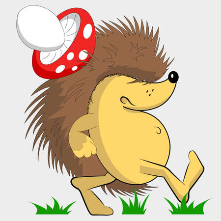 Gloomy hedgehog. Hedgehog with a mushroom on his back. Cartoon character. Walking on the grass. Ilustração